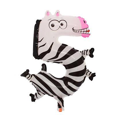 Шар цифра 5  зебра.