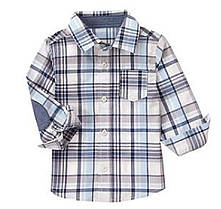 Рубашка в серую клетку с длинным рукавом для мальчика 2, 3, 4, 5 лет Plaid Shirt Crazy8 (США)