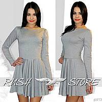 Серое женское платье из двунитки