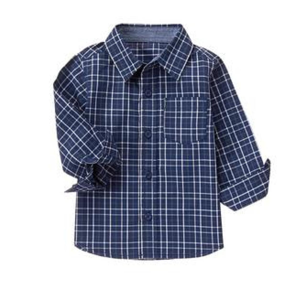 6b9c4938a9b Рубашка синяя в клетку с длинным рукавом на мальчика 2