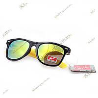 Зеркальные очки Ray San Wayfarer желтые (бензин, дифракция), фото 1