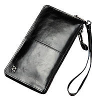 Повседневный мужской кожаный клатч-портмоне черный BZSA14
