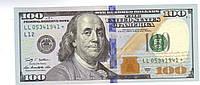 Сувенирные деньги(купюры) 100 долларов нового образца. Пачка долларов 80 шт.