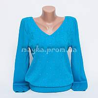 Кофта джемпер женская трикотаж с мысиком голубой р.48-50 AL34-2