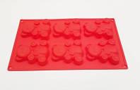 Форма для выпечки Барни мишка 6 шт. на планшете силиконовая