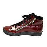 Женские демисезонные ботинки, из натуральной лаковой кожи бордового цвета, на плоской подошве, фото 3