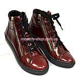 Женские демисезонные ботинки, из натуральной лаковой кожи бордового цвета, на плоской подошве, фото 4