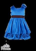 Нарядное синее платье для девочки с розами 110-116