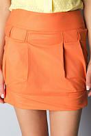 Мини-юбка молодежная оранжевая Ю58