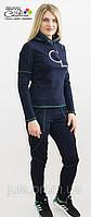 Костюм женский синий с зелёными полосками