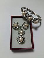 Набор с жемчугом серьги - кулон с цепочкой - браслет - кольцо 18р с родиевым покрытием