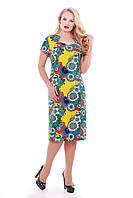 Летнее платье до колена Катрин р.52-58 бриз