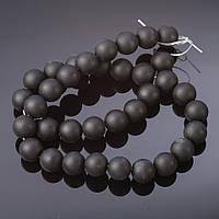 Бусины натуральный камень на нитке Шунгит d-12мм L 37см