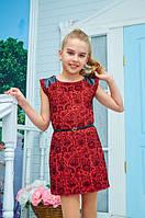 Платье-футляр со вставками для девочки подростка красное р 134-152