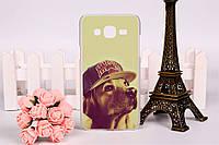 Чехол панель накладка для Samsung Galaxy J7 J700h с рисунком собака в кепке