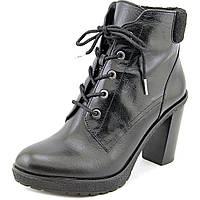 Женские стильные кожаные черные ботинки популярного американского бренда  Michael Kors на каблуке ОРИГИНАЛ, фото 1