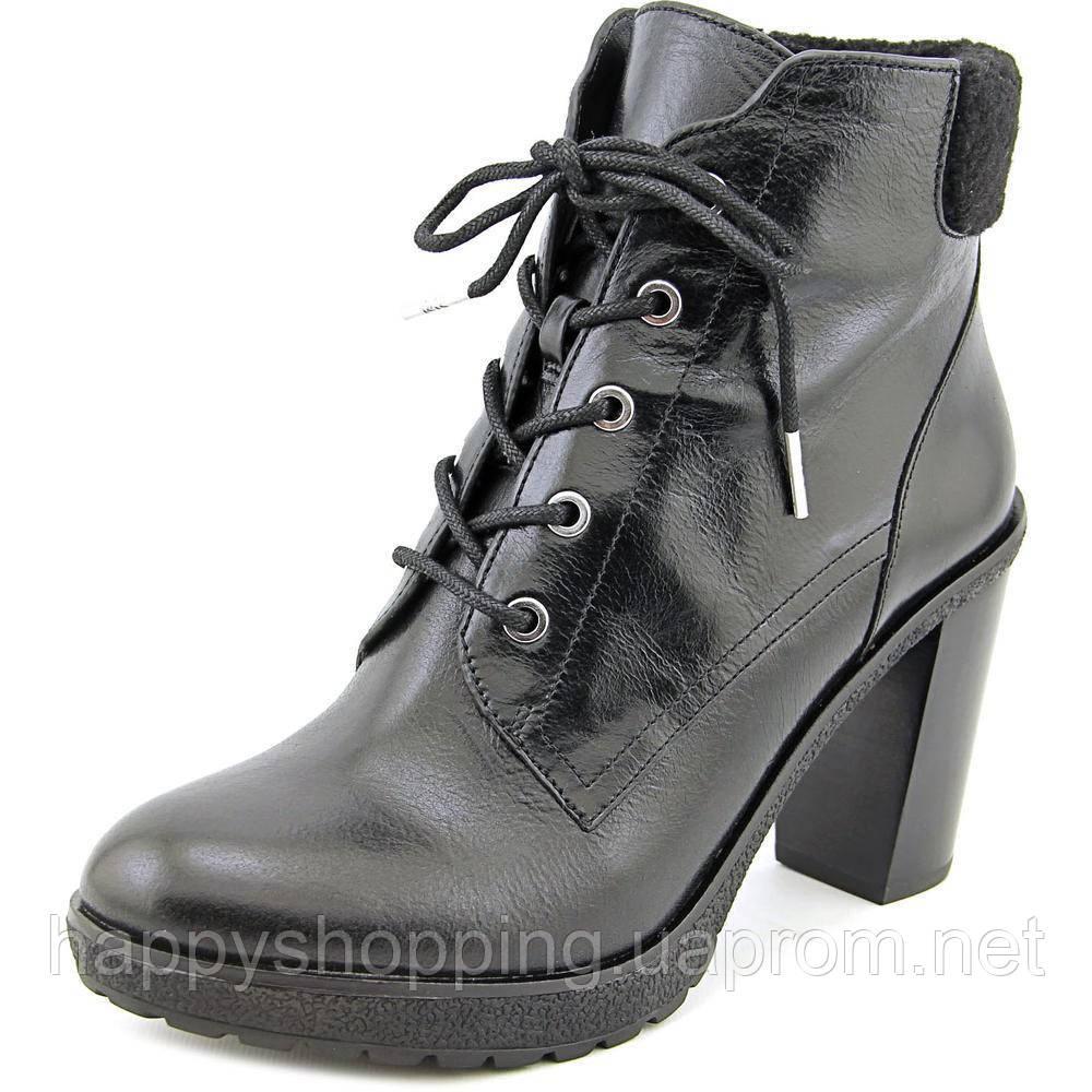 Женские стильные кожаные черные ботинки популярного американского бренда  Michael Kors на каблуке ОРИГИНАЛ