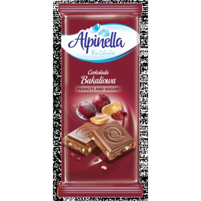 Шоколад Alpinella 90g Арахис с изюмом, фото 2