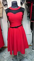 Платье женское  красное нарядное короткое