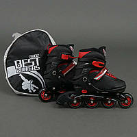 """Ролики 8902 """"М"""" Best Rollers цвет-ЧЁРНЫЙ /размер 35-38/ (6) колёса PU, без света, в сумке"""