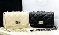 Женская сумка-клатч в дизайне Chanel (Цвета: бежевый, розовый, черный)
