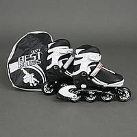 """Ролики 9001 """"S"""" Best Rollers цвет-БЕЛО-ЧЕРНЫЙ /размер 31-34/ (6) колёса PU, без света, в сумке, d=6.4 см"""