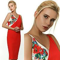 Вишукана червона сукня з оригінальним принтом, фото 1