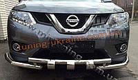 Дуга передняя с клыками и уголками из нержавейки на Nissan X-Trail 2014