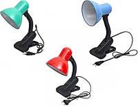 Лампа настольная 108B с прищепкой для стола, с кнопкой (220 В) разные цвета