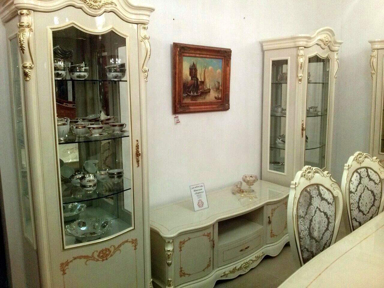 Гостиная в классическом стиле Неаполь Sof, цвет кремовый + патина золото