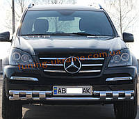 Дуга двойная передняя с клыками из нержавейки на Mercedes GL X164 2006-2012