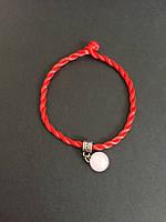 Браслет красная нить оберег от сглаза с камнем Розовый кварц