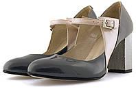 Лаковые женские туфли с ремешком  на широком серебряном каблуке. Натуральная кожа.