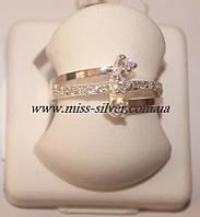 Кольцо серебро с золотом Линда