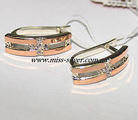 Серьги серебро с золотом Аврора, фото 1