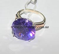 Кольцо серебряное с крупным цирконом Николь