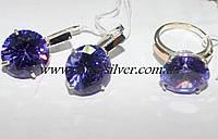 Серебряный набор с фиолетовым цирконом Николь