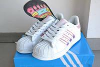 Подростковые +женские кроссовки Adidas superstar белые с розовым