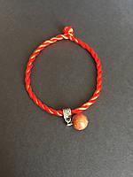 Браслет красная нить оберег от сглаза с камнем Авантюрин золотой песок