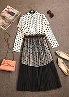 Платье-рубашка с гипюровой юбкой в двух цветах, фото 1