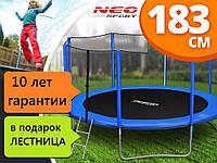 Батут NEO SPORT 183см с сеткой  + лестница, фото 1