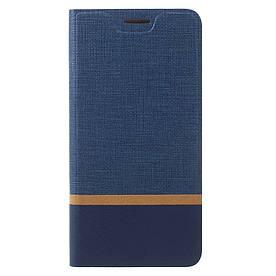 Чехол книжка для Lenovo P2 P2a42 боковой с отсеком для визиток, Double color, темно-синий