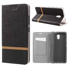 Чехол книжка для Lenovo P2 P2a42 боковой с отсеком для визиток, Double color, черный