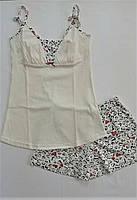 Піжама Жіноча з шортами Серця на молочному