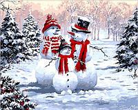 Раскраска по цифрам 40×50 см. Снеговики Художник Ричард Макнейл