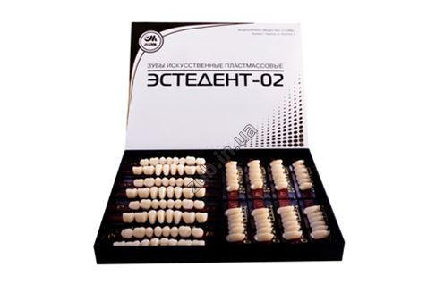 Зубы пластмассовые Эстедент-02 полный гарнитур на планках Стома