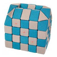 Мягкие магнитные развивающие кубики Jolly Heap (набор 100 шт) голубой/бежевый
