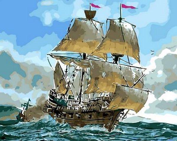 Картины по номерам 40×50 см. Сражение кораблей