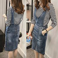 Стильный джинсовый сарафан с карманами, фото 1