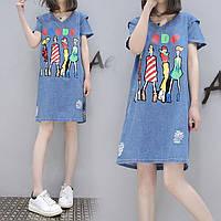 Джинсовое платье с ярком принтом, фото 1